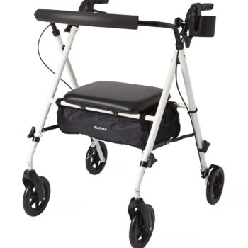 Luxe Rollator,White,7″