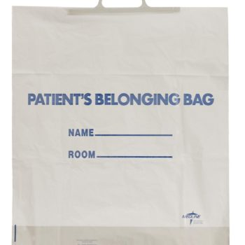 Rigid Handle Patient Belonging Bags,White