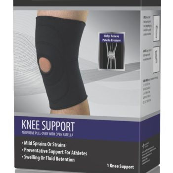 CURAD Open-Patella Knee Supports,Black,Large