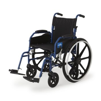 Hybrid 2 Transport Wheelchair Chair with Swing-Away Leg Rests- Blue