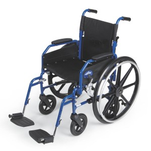Hybrid 2 Transport Wheelchair Chair with Swing Away Leg Rests – Blue