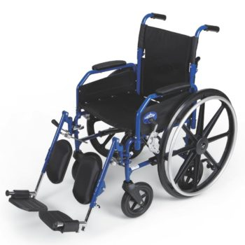Hybrid 2 Transport Wheelchair Chair with Elevating Leg Rests – Blue