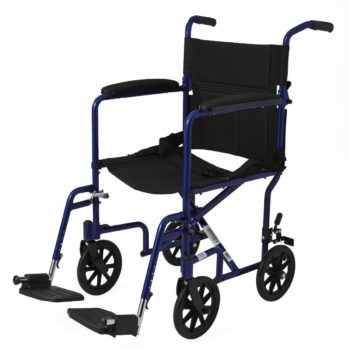Aluminum Transport Chair with 8″ Wheels – Blue