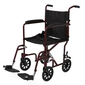 Aluminum Transport Chair with 8″ Wheels – Red