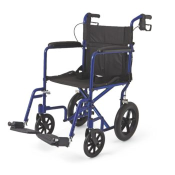 Aluminum Transport Chair with 12″ Wheels – Blue