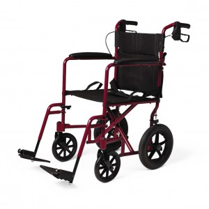 Aluminum Transport Chair with 12″ Wheels – Red