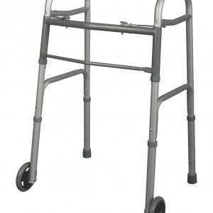 Two-Button Folding Walker with 5 Inch Wheels – Junior