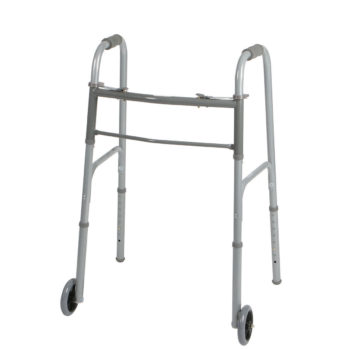 Two-Button Folding Walker with 5 Inch Wheels – Standard Width
