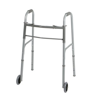 Two-Button Folding Walker with 5 Inch Wheels – Adult – Standard Width – Pack of 4
