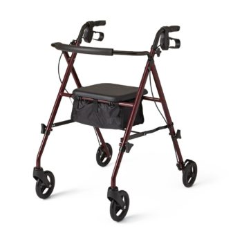 Rollator – Steel – Burgundy – 6 In.Whls