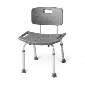 Aluminum Bath Bench with Back – Gray
