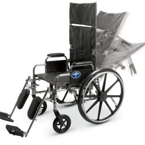 Reclining Wheelchair – 22″ Seat Width – Elevating Leg Rests – Lightweight