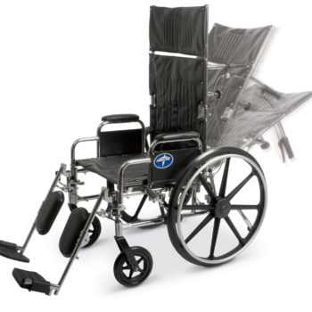 Reclining Wheelchair – 18″ Seat Width – Elevating Leg Rests – Lightweight