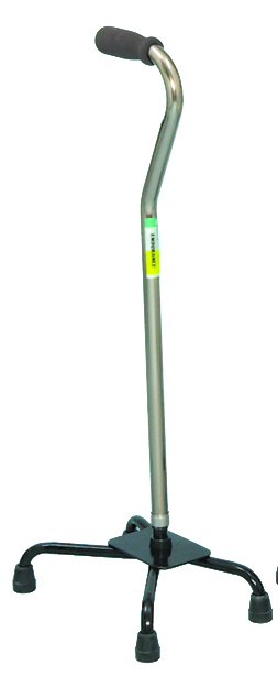 Large Base Quad Cane - Silver