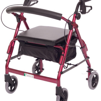 Featherlight™ Demi 4 Wheel Walker w/Loop Hand Brakes – Red